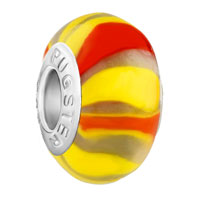 Charms Beads - handcrafted yellow red fringe fits murano glass beads charms bracelets fit all brands Image.