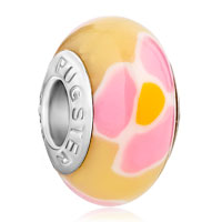 Charms Beads - polymer white pink orange flower fits murano glass beads charms bracelets fit all brands Image.
