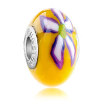 Charms Beads - purple white flower yellow fits murano glass beads charms bracelets fit all brands Image.