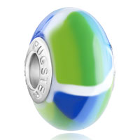 Charms Beads - polymer green blue patch lampwork silver murano glass beads charms bracelets fit all brands Image.