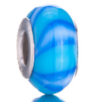 Charms Beads - turquoise blue armadillo pale stripes brands murano glass beads charms bracelets fit all Image.