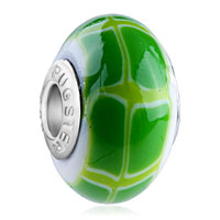Charms Beads - polymer green pale lampwork silver murano glass beads charms bracelets fit all brands Image.