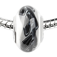 Charms Beads - black leaf band white fit murano glass beads charms bracelets all brands Image.