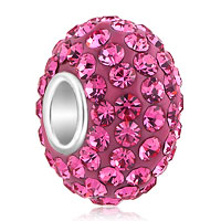 Sterling Silver Jewelry - birthstone charms 925 sterling silver pink crystal bead pandora compatible Image.