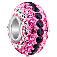 Sterling Silver Jewelry - birthstone charms 925 sterling silver pink & black crystal bead silver core Image.