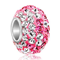 Sterling Silver Jewelry - birthstone charms jewelry. 925 sterling silver pink crystal bead fit charm Image.