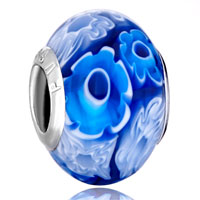 Charms Beads - blue &  white sun flowers fits murano glass beads charms bracelets fit all brands Image.