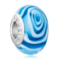 Charms Beads - plae blue fantasy flower sea wave fits murano glass beads charms bracelets fit all brands Image.