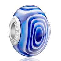 Charms Beads - white circle in blue murano glass fits beads charms bracelets fit all brands Image.