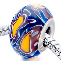 Charms Beads - sapphire blue &  brown flower ripple murano glass fits beads charms bracelets fit all brands Image.