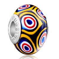 Charms Beads - handcrafted circle round gorgeous fits murano glass beads charms bracelets fit all brands Image.