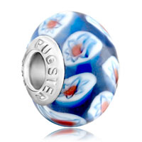Charms Beads - pale blue white flower againsts fits murano glass beads charms bracelets fit all brands Image.