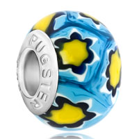 Charms Beads - fantasy yellow flowers fits murano glass beads charms bracelets fit all brands Image.