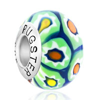 Sterling Silver Jewelry - pale green flower deep blue 925  silver murano glass beads charms bracelets fit all brands Image.