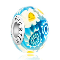 Sterling Silver Jewelry - handcrafted white blue multi color millefiori flowers 925  sterling silver fit all brands murano glass beads charms bracelets Image.