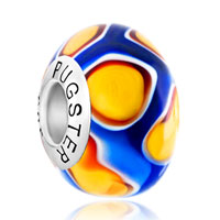 Sterling Silver Jewelry - sapphire blue orange flower bud 925  silver murano glass beads charms bracelets fit all brands Image.