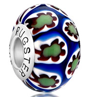 Sterling Silver Jewelry - green white millefiori sunflower blue 925  sterling silver solid cores fit all brands murano glass beads charms bracelets Image.