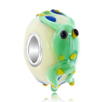 Sterling Silver Jewelry - green frog yellow eyes slim sterling silver lampwork murano glass beads charms bracelets fit all brands Image.