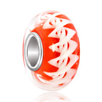 Charms Beads - reddish orange dna structure helix robbin stripes fit all brands murano glass beads charms bracelets Image.