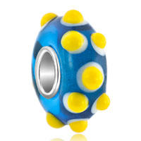 New Year Deals - sapphire blue with yellow salient hedgehog fit all brands murano glass beads charms bracelets Image.