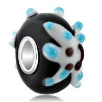 Charms Beads - little cute 3 d pale blue starfish black onyx color fit all brands murano glass beads charms bracelets Image.