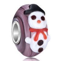 Charms Beads - cute christmas snowman amthyst purple stripe murano glass fit all brands beads charms bracelets Image.