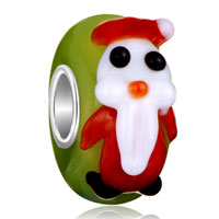 Charms Beads - christmas santa claus green peridot murano glass fit all brands beads charms bracelets Image.
