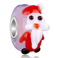 Charms Beads - christmas santa claus pastel pink murano glass fit all brands beads charms bracelets Image.