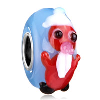 Charms Beads - xmas gift red snowman opaque blue aquamarine color fit all brands murano glass beads charms bracelets Image.