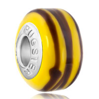 New Arrivals - brown stripe yellow fit all brands murano glass beads charms bracelets Image.