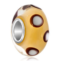 Charms Beads - white and black dots yellow color fit all brands murano glass beads charms bracelets Image.
