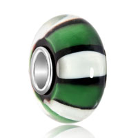 New Arrivals - black white stripe emerald green murano glass beads charms bracelets fit all brands Image.