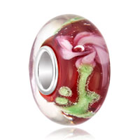 Murano Glass Jewelry - red with beautiful pink flower fit and charmilia murano glass beads charms bracelets all brands Image.