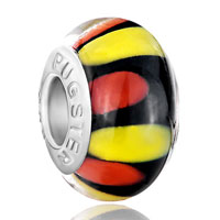 New Year Deals - orange yellow and red petals black fit all brands murano glass beads charms bracelets Image.
