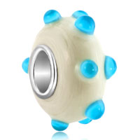 New Arrivals - translucent aquamarine light blue bud milk white fit all brands murano glass beads charms bracelets Image.