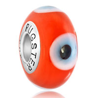 Sterling Silver Jewelry - garnet red evil eyes 925  sterling silver fits murano glass beads charms bracelets fit all brands Image.