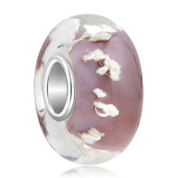 Sterling Silver Jewelry - transparently pink coral 925  sterling silver solid core fits murano glass beads charms bracelets fit all brands Image.