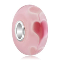 Sterling Silver Jewelry - 925  sterling silver pink heart love murano glass beads charms bracelets fit all brands Image.