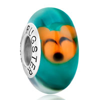 Sterling Silver Jewelry - 925  sterling silver cute orange mouse emerald green fit all brands murano glass beads charms bracelets Image.