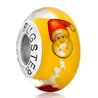 Sterling Silver Jewelry - 925  sterling silver christmas santa claus lucky clouds yellow fit all brands murano glass beads charms bracelets Image.