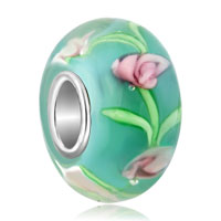 Charms Beads - pink flower in aquamarine blue fits murano glass beads charms bracelets fit all brands Image.