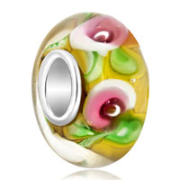 Sterling Silver Jewelry - pink flower yellow lampwork silver murano glass beads charms bracelets fit all brands Image.