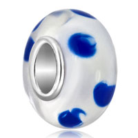 Charms Beads - transparently clear white blue dots fits murano glass beads charms bracelets fit all brands Image.