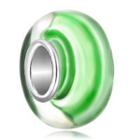 Charms Beads - emerald green stripes fits murano glass beads charms bracelets fit all brands Image.