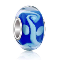 Charms Beads - milk white christmas tree of life sapphire blue color murano glass beadss Image.