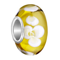 Charms Beads - citrine yellow white litter flower fits murano glass beads charms bracelets fit all brands Image.