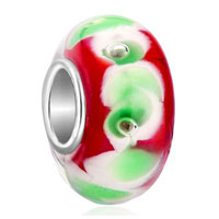 Charms Beads - garnet red green petal fits murano glass beads charms bracelets fit all brands Image.