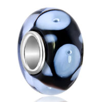 Charms Beads - white petals and bubbles onyx black beadss fit all brands murano glass beads charms bracelets Image.