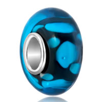 GB_YWQX14_X09: blue dots against black fit murano glass beads charms bracelets all brands Image.