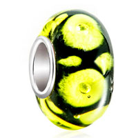 Charms Beads - classic black citrine yellow life flower fit all brands murano glass beads charms bracelets Image.